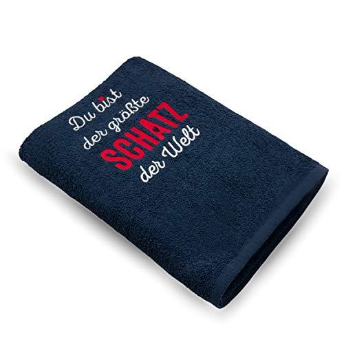 Handtuch Bestickt 50x100cm / das Original – DU BIST DER GRÖSSTE Schatz DER Welt - die Geschenkidee / Coole Sachen aus 100{4c62b33c441e61880bc7dd1fdc75c73fe9c93c8db746675c4bc62e7b1274e8f6} Baumwolle / HISA DARIL® (Blau)