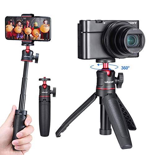 Ulanzi MT-08 カメラ三脚 ミニ三脚 卓上三脚 自撮り棒 ビデオ VLOG三脚 3段伸縮 持ち運び便利 360°回転 RX100 M1-M6 A6400 A6500 A6600 Canon G7X Mark IIIなどのカメラに対応