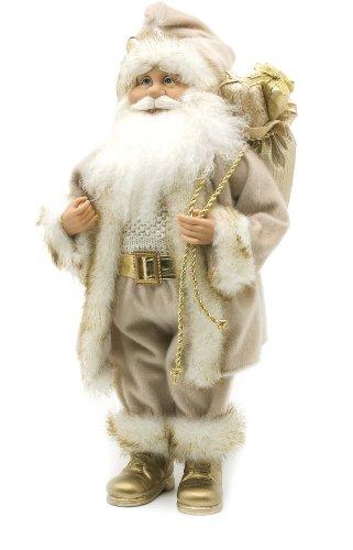 Festive Productions - Babbo Natale con Pelliccia di ermellino, 45 cm, Colore: Oro e Crema