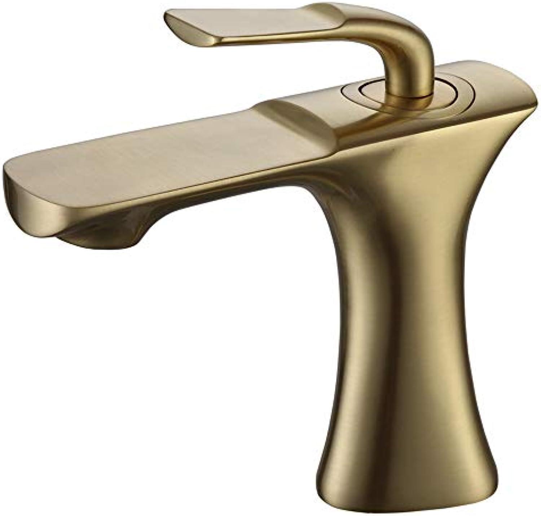Tan Waschbecken Wasserhahn, Einhand-Einloch-Waschtischmischer Für Deckmontage Für Warmes Und Kaltes Wasser, Messing,BrushedGold