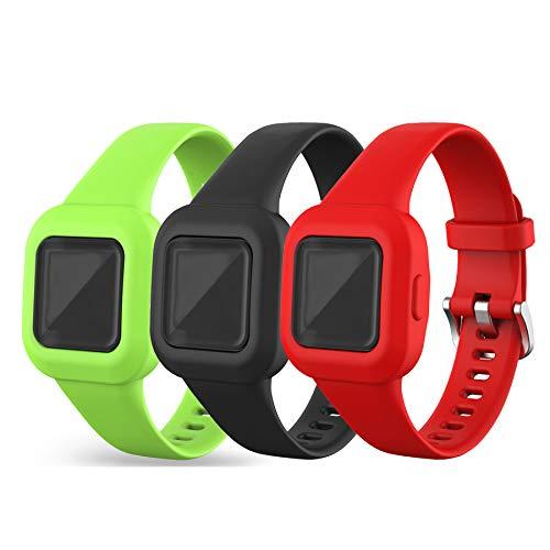 Chofit Armbänder kompatibel mit Garmin Vivofit jr.3 Armband, Verstellbares Ersatzarmband aus Weichem Silikon, Sportarmband für Kinder ab 4 Jahren für Vivofit jr.3 Fitness Tracker (Schwarz+Rot+Grün)