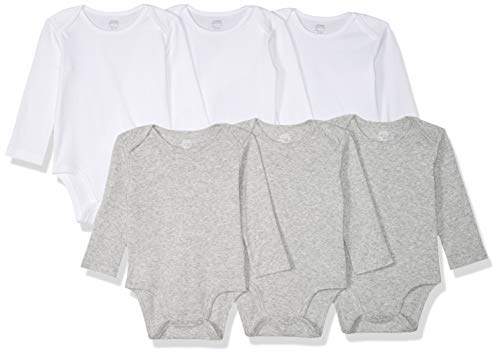 Amazon Essentials - Pack de 6 bodis de manga larga para bebé, White/Gray Heather, Recién nacido