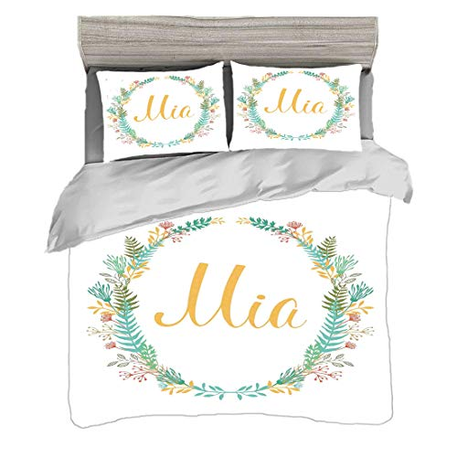 Duvet Cover Set Double Size(200 x 200cm) with 2 Pillow Shams Mia Microfiber Bedding Sets Frame of Flowers and Ferns Pattern with Handwriting Calligraphy Design Cursive Alphabet,Multicolor Easy Care An