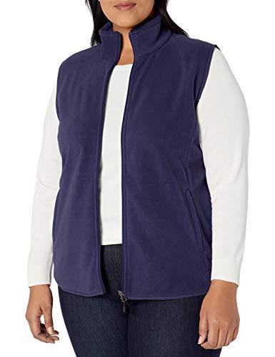 Amazon Essentials Plus Size Full-Zip Polar Fleece outerwear-vests, navy, 1X
