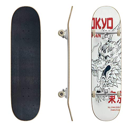 EFTOWEL Skateboards Japanese Dragon Illustration with Japanese Text Tokyo Vector Classic Concave Skateboard Cool Stuff Teen Gifts Longboard Extreme Sports for Beginners and Professionals