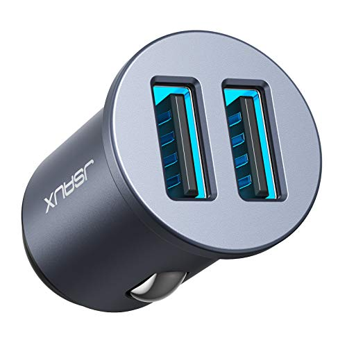 JSAUX Cargador Coche[Puerto Dual QC3.0]36W/6A[Todo Metal]cargador de coche móvil con luz LED permite una carga rápida para teléfonos y tabletas,iPhone,Samsung,LG,HTC,Sony,Huawei, Xiaomi USB Coche-Gris
