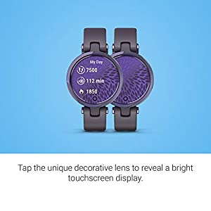 Garmin Lily, Small GPS Smartwatch with Touchscreen and Patterned Lens, Dark Purple