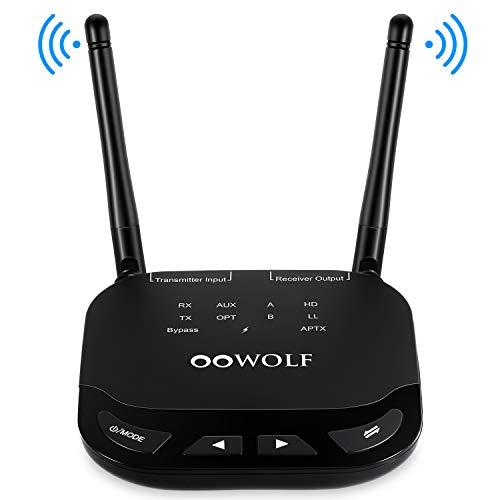 OOWOLF Bluetooth Transmitter Receiver, Low Latency Long Range Bluetooth 5.0 Transmitter Adapter for 2 Headphones, 3.5mm Audio, Home Stereo, Optical Digital, AUX & RCA