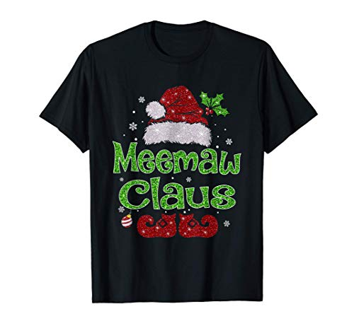 Meemaw Claus Shirt Christmas Pajama Family Matching Xmas T-Shirt