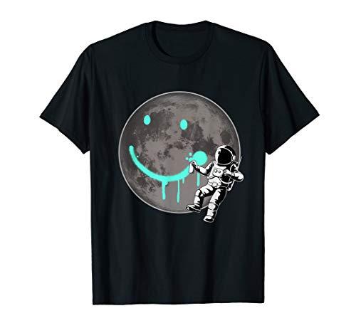 Lustiges Astronaut Mond Sprayer Graffiti Smile Planet Kunst T-Shirt