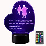 Creative Gifts for Mother's Day from Daughter or Son Best Mom's Birthday Gifts Heart Shaped 3D Lamp with Poem for Mom That'll Make Her Feel Special