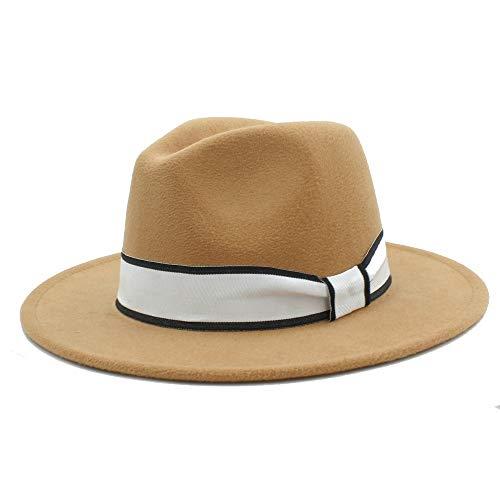 Duyani Hombres Mujeres Sombrero de Invierno Fedora con Cinta Blanca Sombrero de Panamá Sombrero de ala Ancha Fascinator Sombrero Sombrero Informal Tamaño 56-58 cm (Color : Caqui, Size : 56-58)
