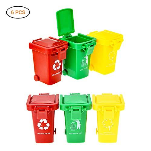 Mowtom Set de 6 Piezas de Mini Cubo de Basura Pequeño y Colorido Cubo de Basura Juguetes Niños Contenedor de Basura Contenedores en Miniatura para niños Amarillo Rojo Verde