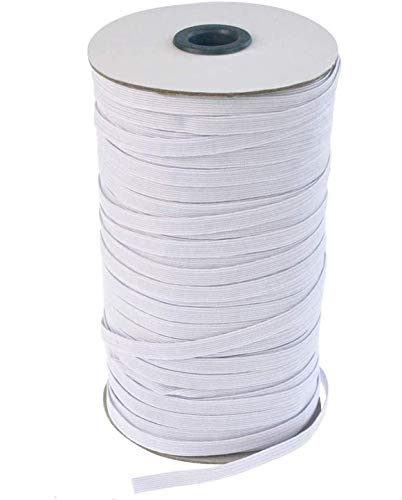 Flat Elastic Band for Sewing, 1/4'' Wide Braided Stretch Strap Cord Roll Heavy Stretch Elastic String Cord White Bungee for Crafts DIY, 120-Yard