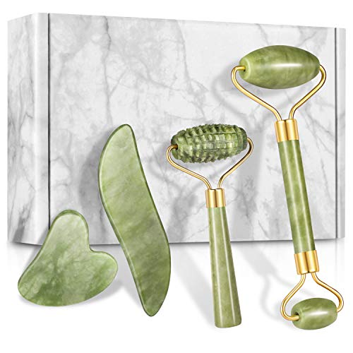 4-pcs Jade Roller & Gua Sha Set, Facial Roller Massager with Gua Sha Scraping Tool, Jade Stone Massager for Anti-aging, Slimming & Firming, Rejuvenate Face and Neck, Remove Wrinkles & Eye Puffiness