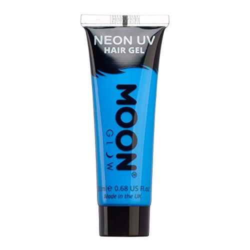 Moon Glow - Blacklight Neon UV Hair Gel - 0.67oz Intense Blue – Temporary wash out hair color - Spike and Glow!