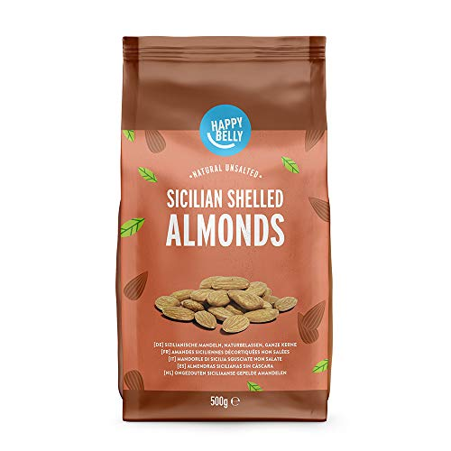 Marca Amazon - Happy Belly Almendras sicilianas sin cáscara 2x500g