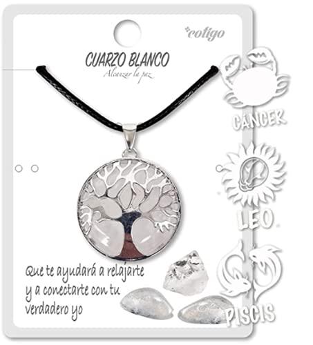 Collar de árbol de la Vida con Colgante Piedra Natural Energeticas - Distintas Piedras Semipreciosas (Cuarzo Blanco)