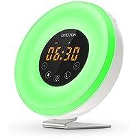 OMOTON Despertador Luz [Atardecer y Amanecer Simulation] Wake –Up Light[Control Táctil/ 7 Colores ][Radio Fm /6 Sonidos Naturales] [Funzione Snooze]