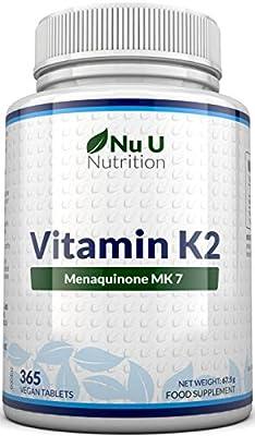 Vitamin K2 MK 7 200mcg – 365 Vegetarian and Vegan Tablets, One Year Supply of Vitamin K2 Menaquinon MK7 by Nu U Nutrition by Nu U Nutrition