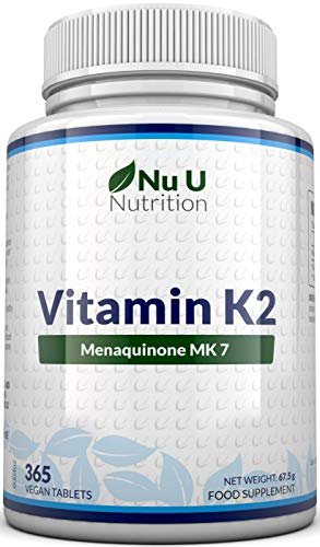 Vitamin K2 MK 7 200mcg - 365 Vegetarian and Vegan Tablets (not Capsules) - One Year Supply of High Strength Vitamin K2 Menaquinone MK7 from Trans-Isomer by Nu U Nutrition