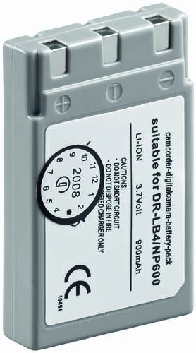 AKKU für Digital Kamera | Konica | DR-LB4, NP-600 | 900mAh LION | für Konica Revio KD-310Z/-400Z/-420Z-500Z, Minolta: DiMAGE G500