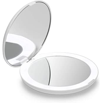 "Fancii LED Lighted Travel Makeup Mirror, 1x/10x Magnification - Daylight LED, Compact, Portable, Large 5"" Wide Illuminated Folding Mirror (Lumi) (Silk White)"