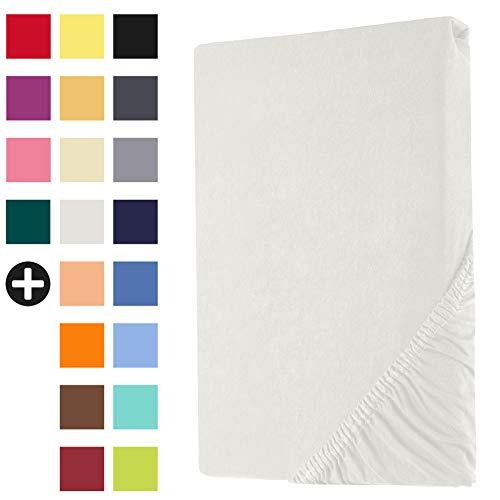 Heim24h Spannbettlaken Jersey Spannbetttuch Bettlaken mit Einer Steghöhe von 18 bis 30 cm 100{ce178ab6464b090a6f93c0934a1adb5065badebd47b194bc7f87ff0ef0a79431} Baumwolle Hochwertig elastisch atmungsaktiv und weich Weiß 120x200-140x200 cm