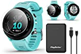 Garmin Forerunner 55 (Aqua) GPS Running Watch Power Bundle | Includes PlayBetter Portable Charger &...