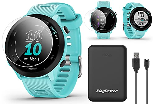 Garmin Forerunner 55 (Aqua) GPS Running Watch Power Bundle | Includes PlayBetter Portable Charger & HD Screen Protectors | 2021 Running Watch | Heart Rate, PacePro, Accurate GPS | 010-02562-02