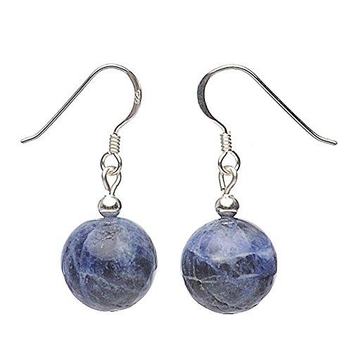 Orecchini in vero Sodalite viola blu orecchini donna liscia