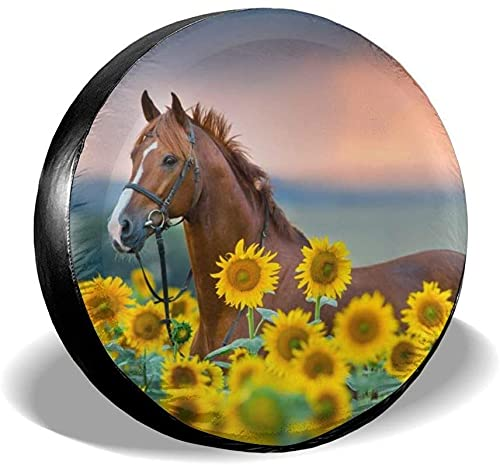 MODORSAN Cubierta para neumático de Repuesto Horse Sunflower,poliéster,Universal,de 14 Pulgadas,para Rueda de Repuesto,para Remolque,RV,SUV,camión,camión,camioneta,Viaje,Remolque,Accesorios