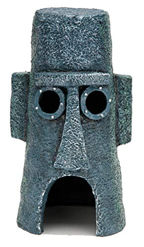 "Penn-Plax Officially Licensed Nickelodeon Spongebob Aquarium Ornament – Squidward's Easter Island Home - Full Color 8"" Decoration (SBR46)"