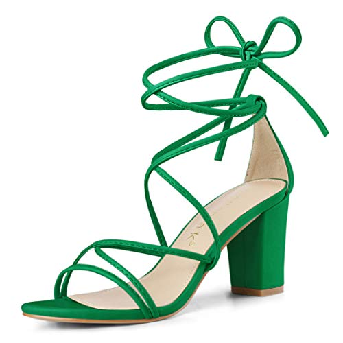 Allegra K Women's Strappy Straps Lace Up Chunky Heel Green Sandals - 8.5 M US