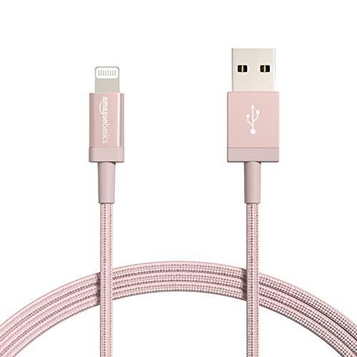 Amazon Basics Câble USB A vers Lightning en nylon tressé Chargeur certifié MFi pour iPhone Rose doré 1,82m