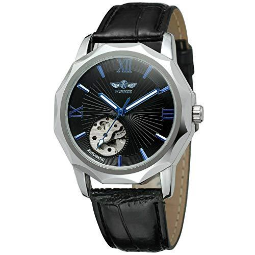 Skeleton Mechanische Uhren für Männer Wickeln Automatische Armbanduhr Lederband Klassische Mode Lässig Business Kleid Uhr