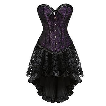Steampunk Corset Skirt Renaissance Corset Dress for Women Gothic Burlesque Corsets Costumes Medium Purple