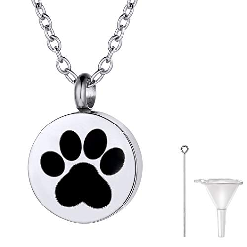 Richsteel Huella Mascota Collar Cenizas Perro Colgante Guarda Cenizas Gato Collar relicario Colgante Cenizas Mascota