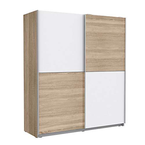 FORTE Schwebetürenschrank mit 2 Türen, Holzwerkstoff, Sonoma Eiche Dekor + Weiß, 170.3 x 61.2 x 190.5 cm