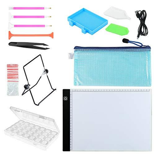 Coolty Kit de pintura de diamante con caja de luz regulable para bordado de diamantes de imitación, punto de cruz de cristal, dibujo, boceto, trazado