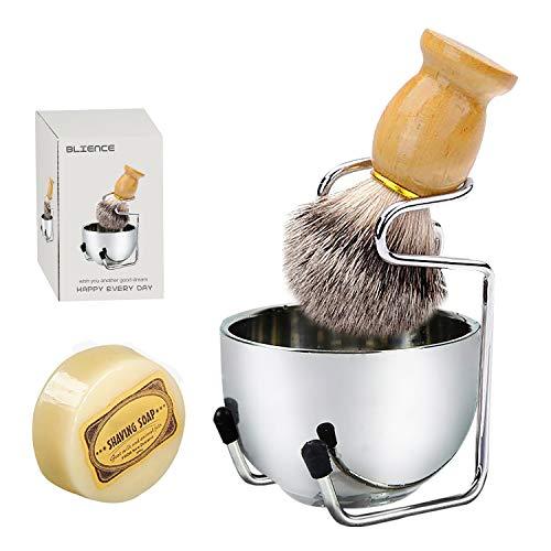 Ensemble blaireau de rasage 4 en 1, poils en nylon manche en bois massif avec savon de rasage au lait de chèvre 100 g support de rasage en acier inoxydable et bol de rasage à 2 couches, cadeau parfait