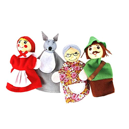 Berrywho Dedo 4pcs / Set Caperucita Roja de Animales de Navidad Títeres de Juguetes educativos Juguetes muñeca de Dibujos Animados Cuentacuentos Marionetas del Dedo de los Cabritos del Terciopelo