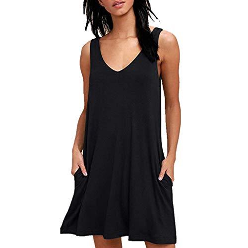 TWIFER Damen Ärmelloses Beiläufiges Strandkleid Sommerkleid Tank Kleid Ausgestelltes Trägerkleid Knielang