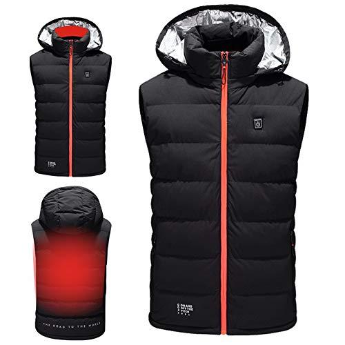 Drxiu elektrische verwarmingsvest voor mannen en vrouwen, USB-oplaad-verwarming, mantel met capuchon, veiligheid en verwarming, jack, reisvest voor outdoor-activiteiten, wandelen, maat L-5XL