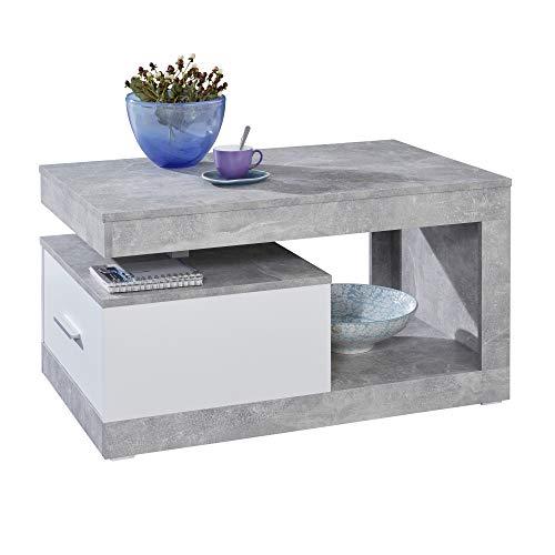Maisonnerie Table Basse de Salon avec Beaucoup d'Espace de Rangement, béton/Blanc, 90 x 48 x 96 cm