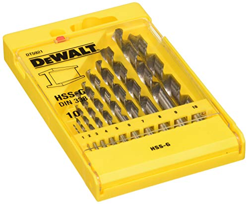 Dewalt DT5921-QZ HSS-G DIN 338 Jobber Metal Drill Bit Sets, 10 Pieces (DT5921)