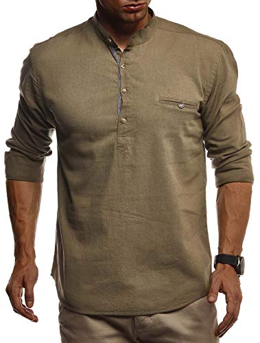 Leif Nelson Herren Leinenhemd Hemd Leinen Kurzarm T-Shirt Oversize Stehkragen Männer Freizeithemd Sommerhemd Regular Fit Jungen Basic Shirt Kurzarmshirt Freizeit Sweater LN3865 Khaki X-Large