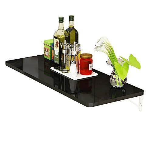 ZfgG składany stolik ścienny, stół kuchenny, montowany na ścianie, biurko, do ściany lub ściany, czarny (kolor czarny, rozmiar: 110 x 50 cm)