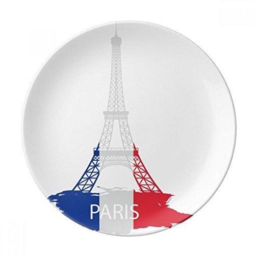DIYthinker Tour Eiffel Paris France Silhouette décorative Porcelaine Assiette à Dessert 8 Pouces Dîner Accueil Cadeau 21cm diamètre Multicolor