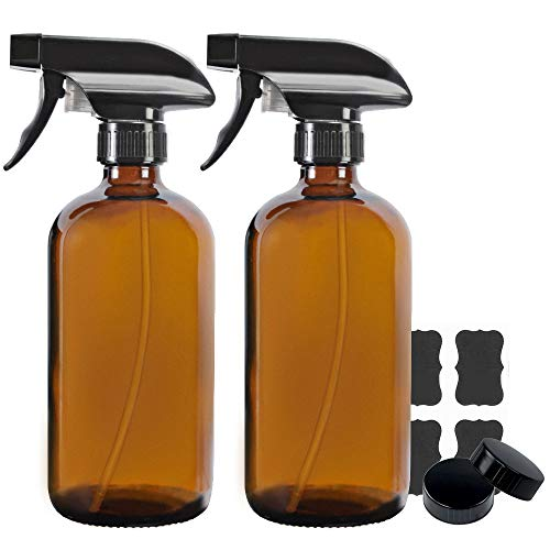 2 Pack 16 oz Amber Boston Glass Spray Bottles,Refillable Trigger Sprayers with Mist & Stream for Essential Oils, Bath, Beauty, Hair & Cleaning Products.Include 2 Durable Caps and 4 Chalk Labels.